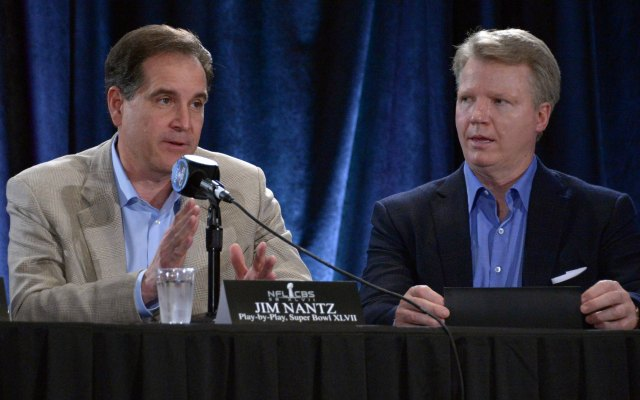 Jim Nantz, left, and Phil Simms will broadcast all 16 Thursday night games. (USATSI)