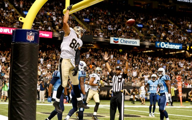 Jimmy Graham is going to dunk it, rules or not. (USATSI)
