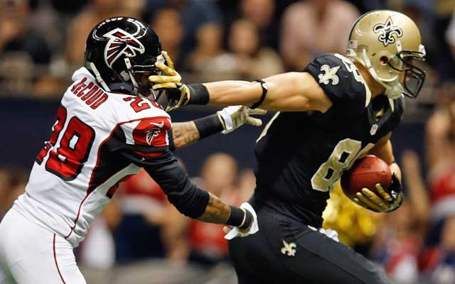 Jimmy Graham has kept Falcons defenders at arms length throughout his young career.