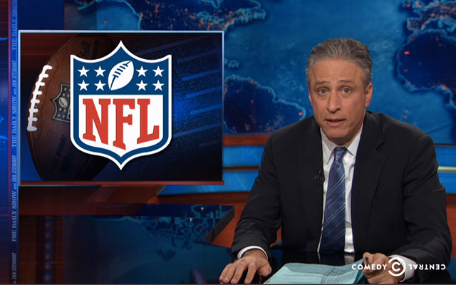 Jon Stewart is unimpressed with how the NFL handled Ray Rice's punishment. (USATSI)