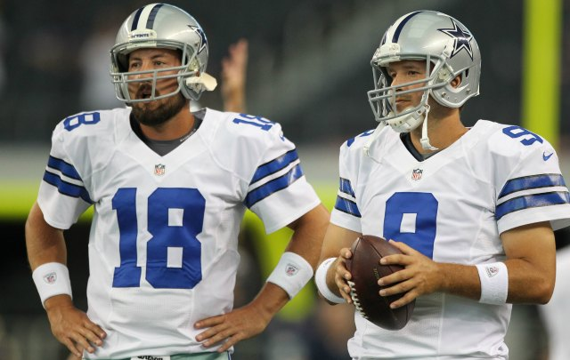 It appears as though Kyle Orton, left, will have to start in place of Tony Romo. (USATSI)