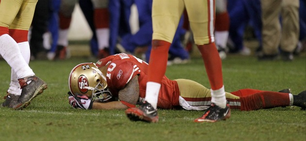 K. Williams fumbled twice in San Francisco's loss to New York (AP).