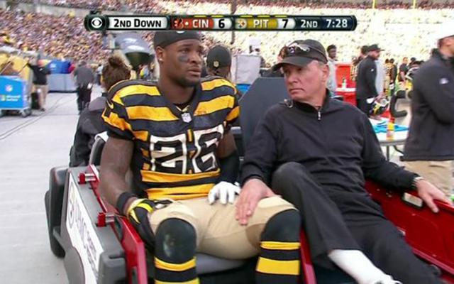Le'Veon Bell was injured midway through the 2nd quarter. (CBS)