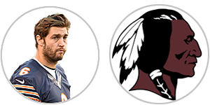 Jay Cutler vs. Redskins QBs (Cutler photo: Getty Images)