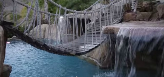 When you need to get across a pool, a rope bridge is helpful. (YouTube)