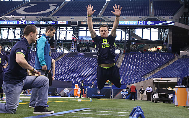 Johnny Manziel records a 113.0 in the broad jump. (USATSI)