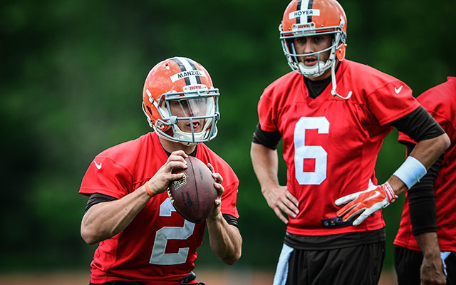 Browns rookie QB Johnny Manziel's on the bench ... for now. (USATSI)