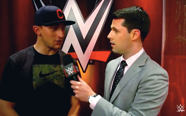 Johnny Football got the 'Idiotface' treatment at WWE Raw. (WWE)