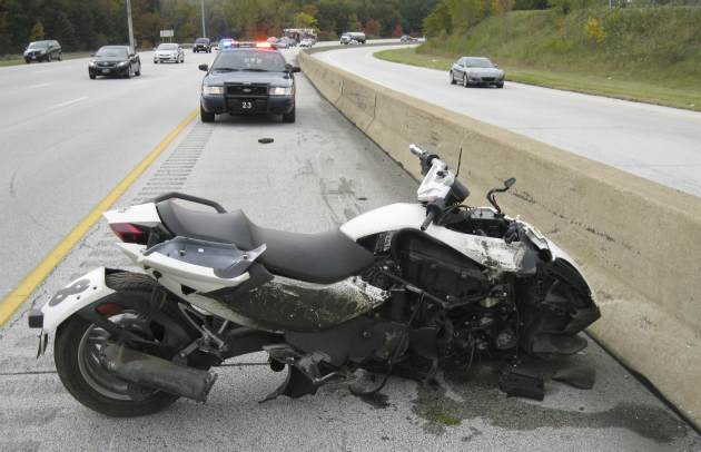 The wreckage of M. Benard's motorcycle accident (AP).