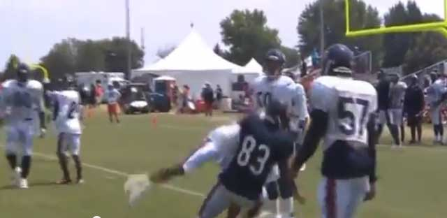 Martellus Bennett threw Kyle Fuller down to the ground at practice.
