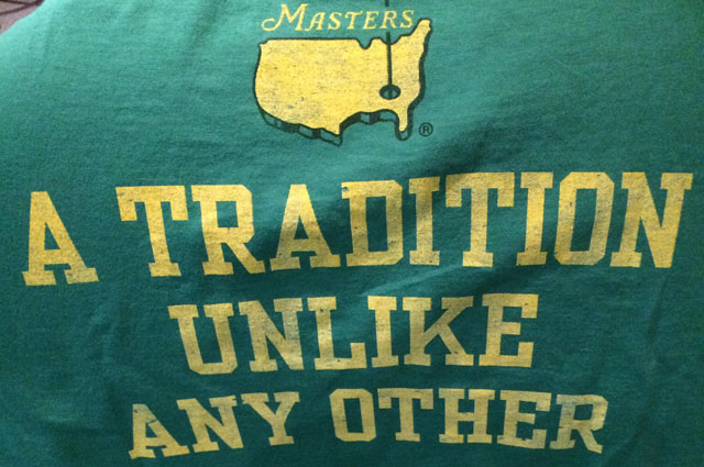 'A tradition unlike any other' shirt sold at Augusta. (CBS Sports)