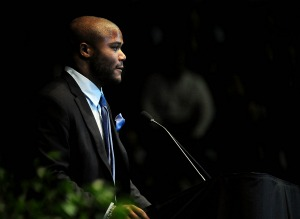 M. Robinson made the long trip from Hawaii to State College for Joe Paterno's memorial service (US Presswire).