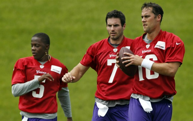 Teddy Bridgewater, left, Christian Ponder, center, and Matt Cassel have impressed Norv Turner. (USATSI)