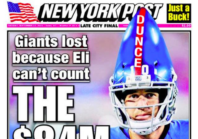Adding insult to injury: Eli's helmet is a clear uniform violation. (NY Post)