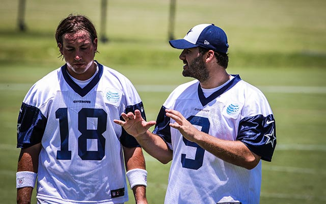 Kyle Orton and Tony Romo talk during minicamp last June. (USATSI)