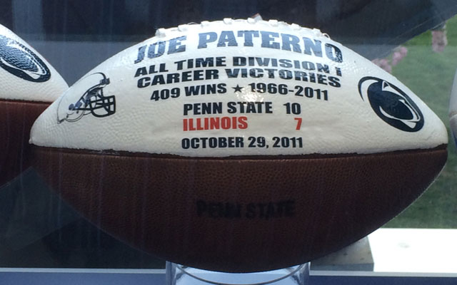 A ball commemorating Joe Paterno's 409th and final victory. (CBS Sports)