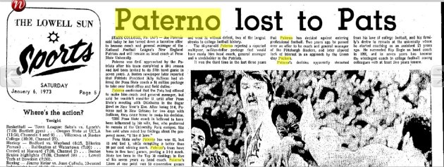 Paterno didn't take the New England job (Newspaperarchives.com).