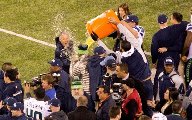 Pete Carroll took the full brunt of the Gatorade bath. Click to enlarge. (Ryan Wilson, CBSSSports.com)