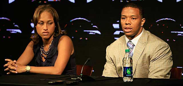 Ray Rice and his now-wife Janay Parker at a news conference about the assault in May.