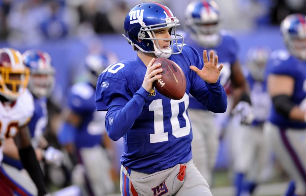 E. Manning is 7 of 17 for 77 yards in the first half (AP).