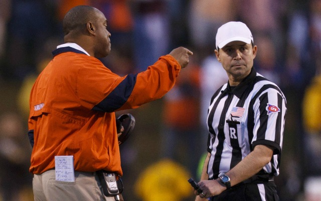 Virginia coach Mike London disagrees with new NFL referee Brad Allen. (USATSI)