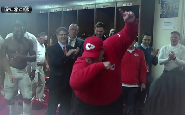 Andy Reid Chiefs Locker Room Dance