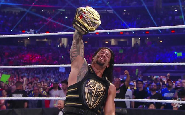 Roman Reigns won the world heavyweight championship Sunday. (WWE)