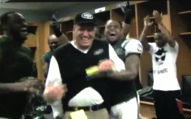 Rex Ryan celebrates with his team. (New York Jets)