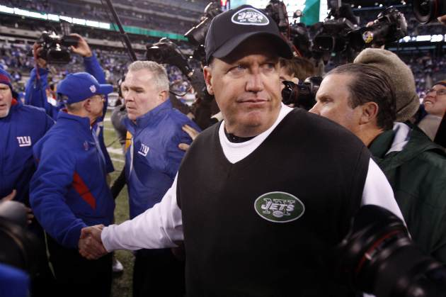 Rex Ryan and B. Jacobs had a confrontation after the game today (US Presswire).