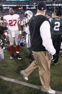 B. Jacobs and Rex Ryan yelling at each other (US Presswire).