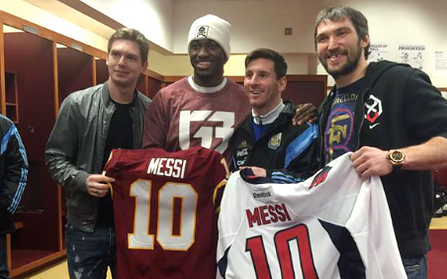 watch 561c9 938f6 LOOK: Robert Griffin III presents Lionel Messi with Redskins ...