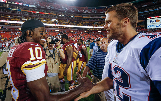 Robert Griffin III and Tom Brady shake hands after Thursday's preseason game. (USATSI)