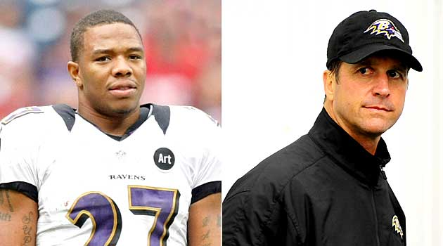 John Harbaugh doesn't condone the actions, but he's proud of the way Ray Rice has handled a tough situation.' (USATSI)