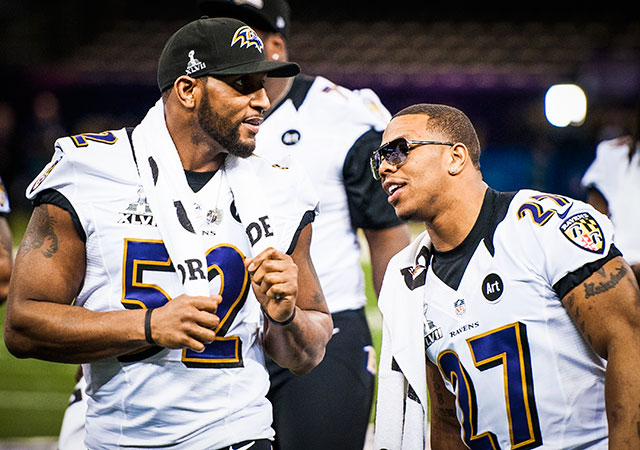 Ray Lewis says he still talks with Ray Rice. (Getty Images)