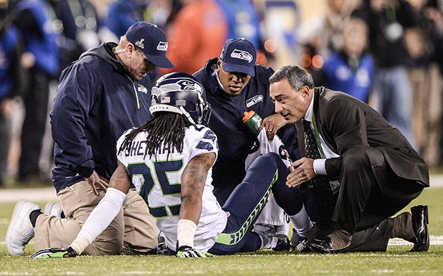 Sherman left early in the 4th quarter with an ankle injury. (USATSI)