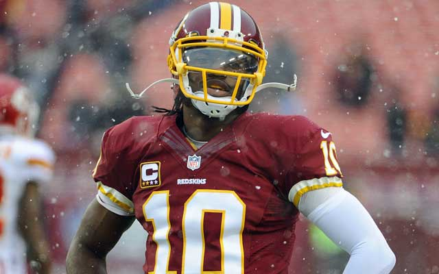 Robert Griffin's QB rating is down more than 20 points from 2012. (USATSI)