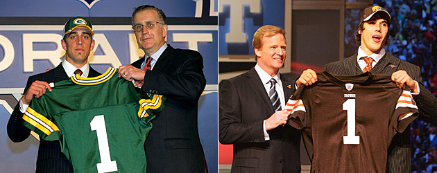 Aaron Rodgers and Brady Quinn had long days during their respective first rounds in 2007. (USATSI)