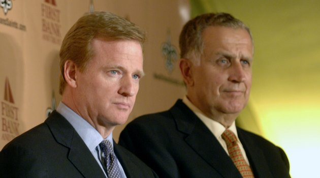 NFL commissioner Roger Goodell and former commissioner Paul Tagliabue