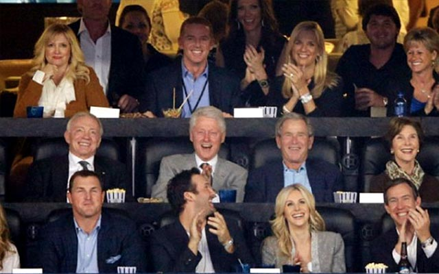 A lot of laughs in Jerry Jones' suite during the NCAA championship game. (USATSI)