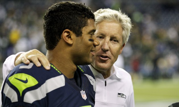Seahawks coach Pete Carroll wasn't going to let go of Wilson. (USATSI)