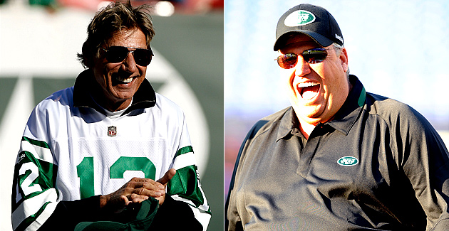 Joe Namath And Rex Ryan Exchange Pleasantries