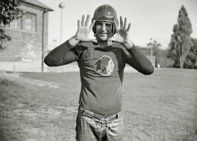 Why is Sammy Baugh, one of the best pro football players of all time, posed like this? (Shorpy.com)