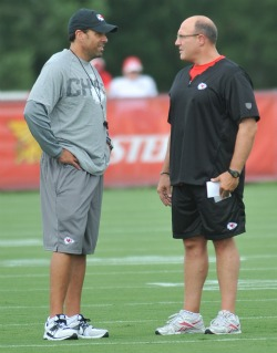 Scott Pioli (right) and Todd Haley apparently aren't getting along (US Presswire).
