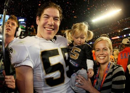 S. Fujita and his wife, Jaclyn, after the New Orleans Super Bowl win (Getty).
