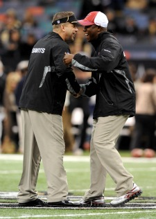 We'll have to see if Raheem Morris is as happy with Sean Payton as he appears in this picture (US Presswire).