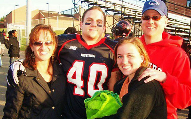 Derek Sheely and his sister, Keyton, are flanked here by their parents. (Sheely family)