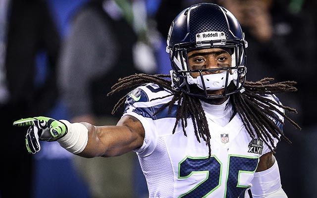 Richard Sherman thinks flagging players for using the N-word is 'almost racist.'. (USATSI)