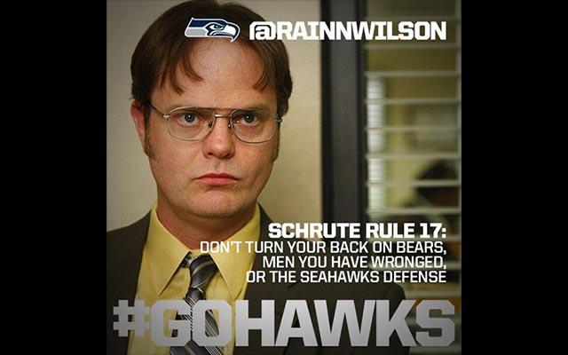 Seahawks fan Rainn Wilson tweets that Seattle will beat the 'Whiners.' (Seahawks Twitter)