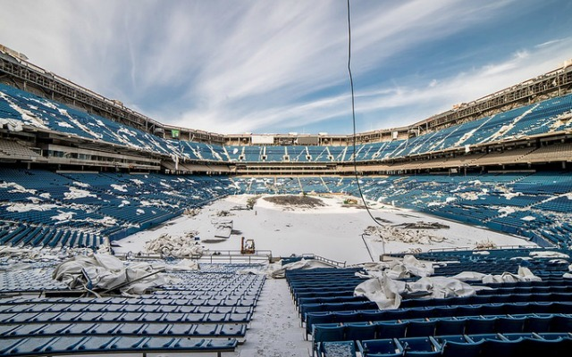 A view of the dilapidated Pontiac Silverdome. (Johnny Joo)