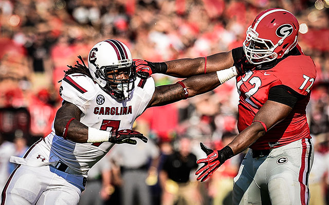 Despite the 'okay' work ethic, Steve Spurrier thinks the Texans should take Jadeveon Clowney first overall. (USATSI)